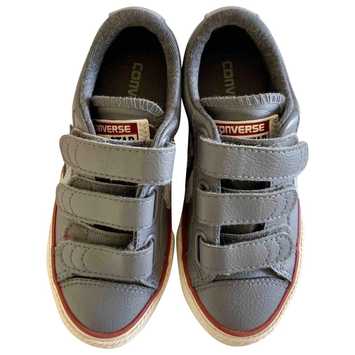 Converse - Baskets   pour enfant en cuir - gris