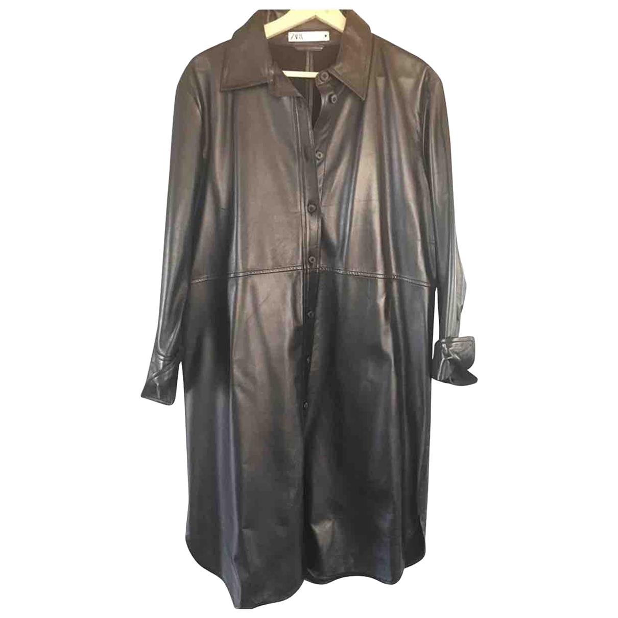 Zara \N Kleid in  Schwarz Leder