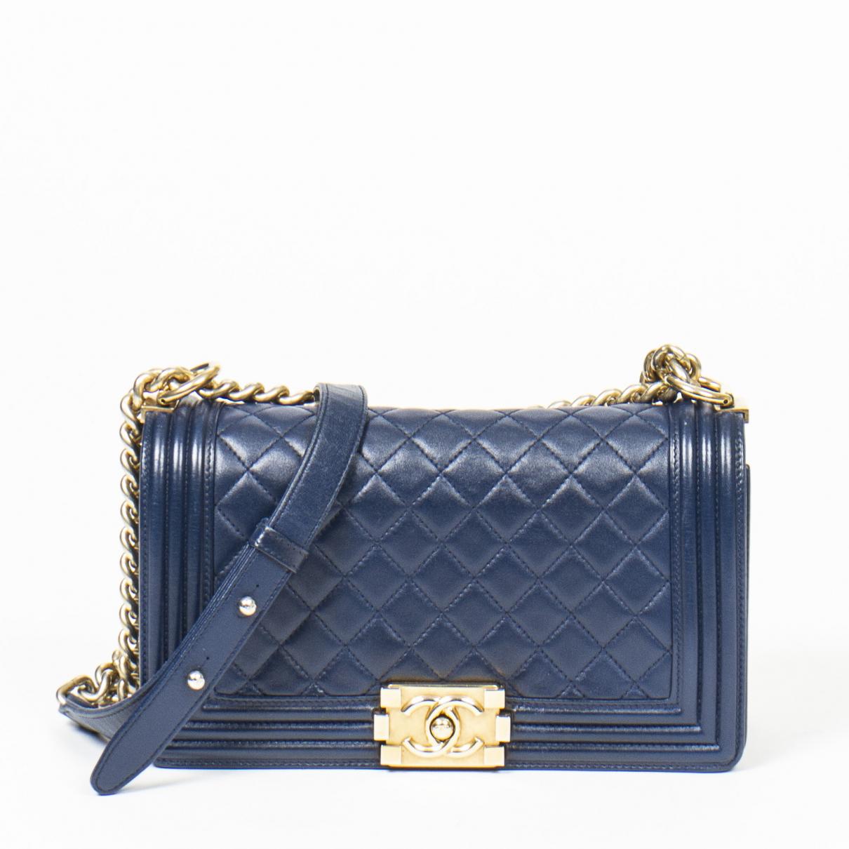 Chanel Boy Handtasche in  Blau Leder