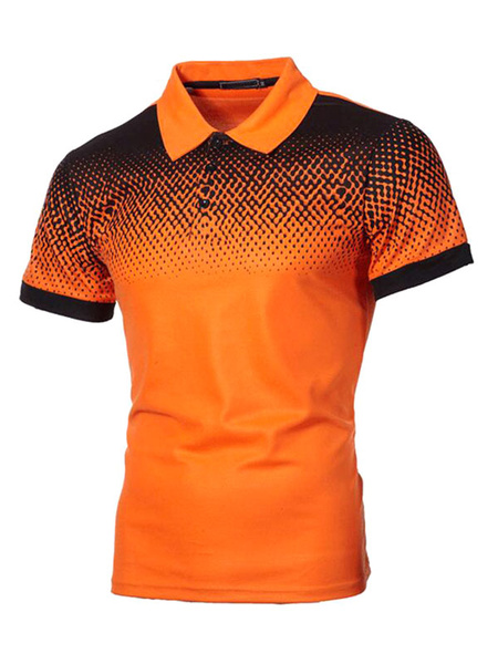 Milanoo Mens Polo Shirt Turndown Collar Short Sleeves Buttons Slim Fit Orange Fashion Polo Shirts