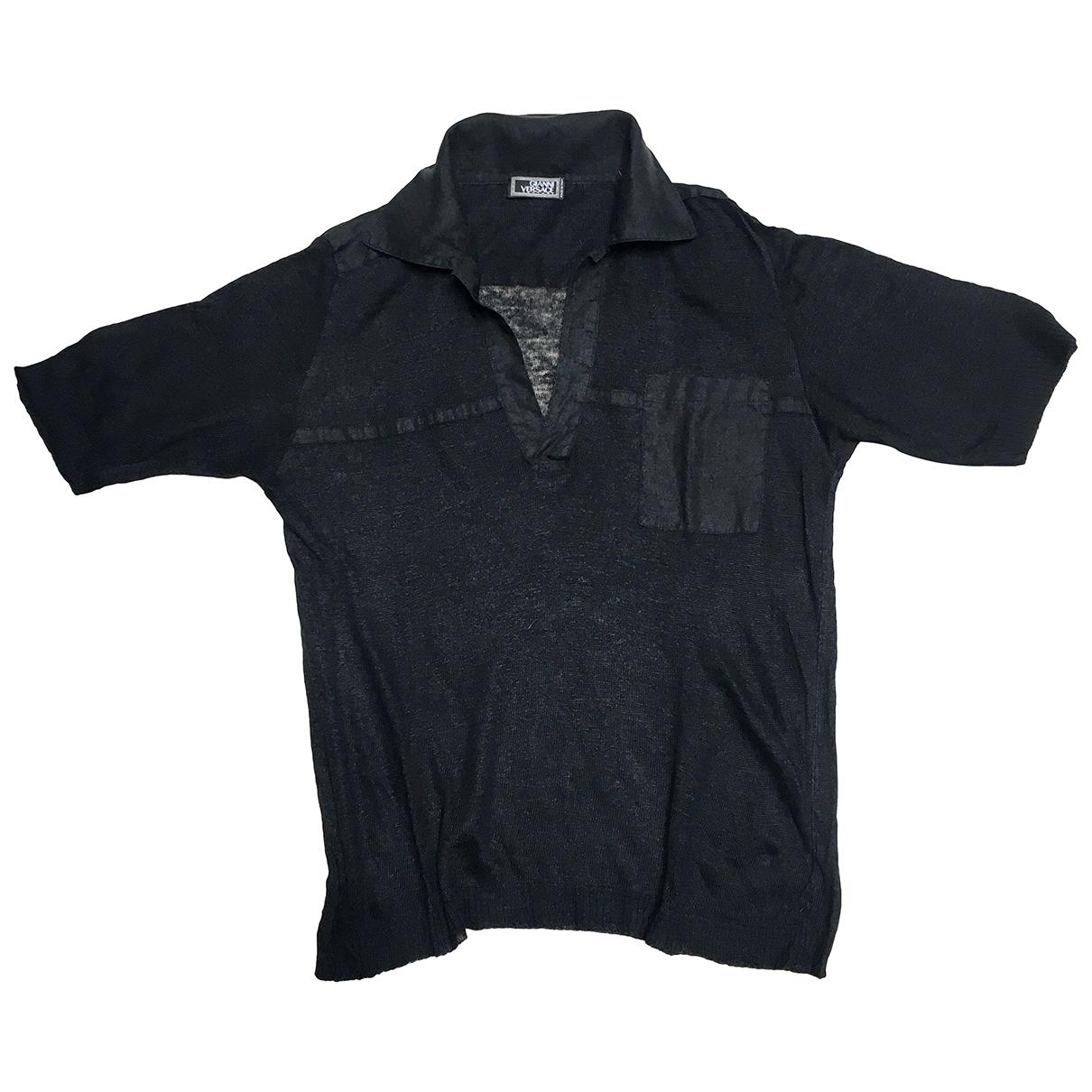 Gianni Versace - Polos   pour homme en lin - noir
