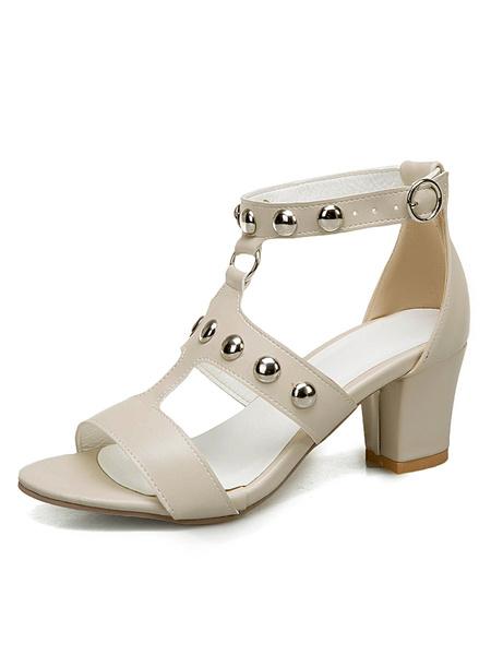 Milanoo Mid Heel Sandals Womens T-strap Studded Open Toe Chunky Heel Sandals