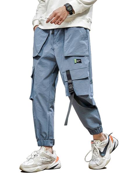 Milanoo Pants For Men Chic Natural Waist Straight Cargo Pant Blue Men\'s Pants