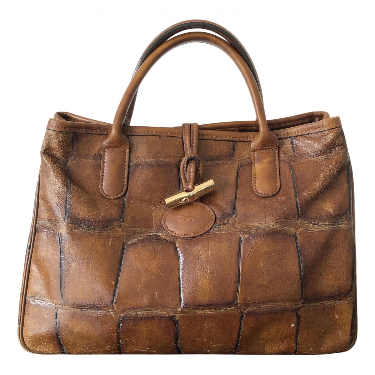 Longchamp - Sac a main Roseau pour femme en cuir - camel