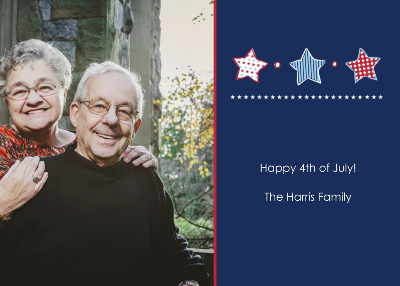4th of July Photo Cards 5x7 Cards, Premium Cardstock 120lb with Elegant Corners, Card & Stationery -Patriotic Stars