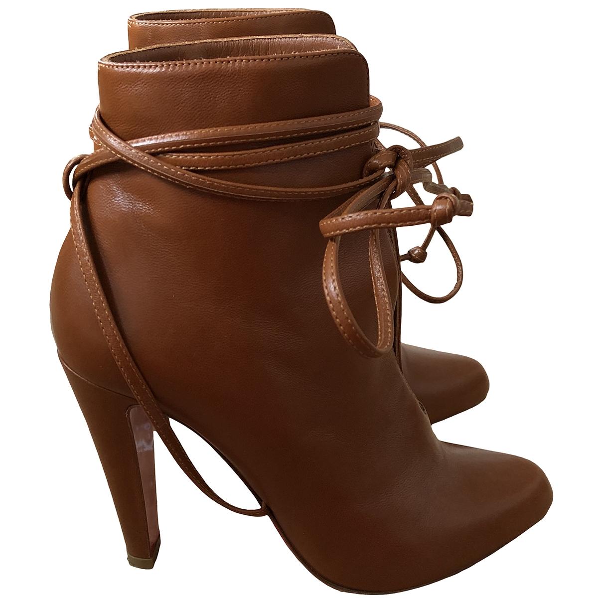 Christian Louboutin - Boots   pour femme en cuir - camel