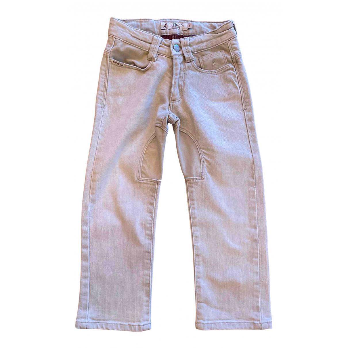 Atelier Siviglia - Pantalon   pour enfant en denim - beige