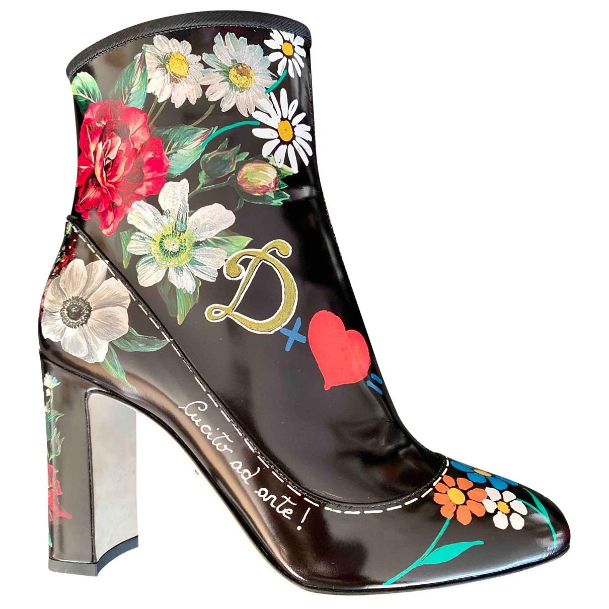 Dolce & Gabbana - Boots   pour femme en cuir verni - noir
