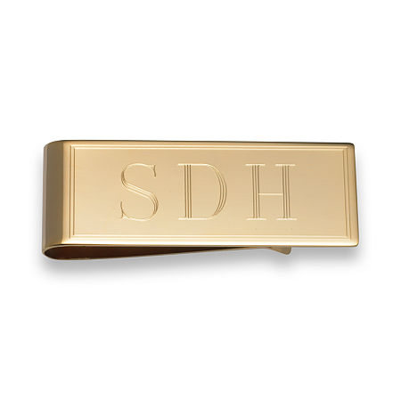 Personalized Gold Plated Money Clip, One Size , Yellow