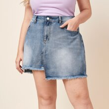 Plus Raw Hem Asymmetrical Denim Skirt