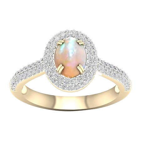 Womens Lab Created Opal 10K Gold Over Silver Halo Cocktail Ring, 7 1/2 , No Color Family