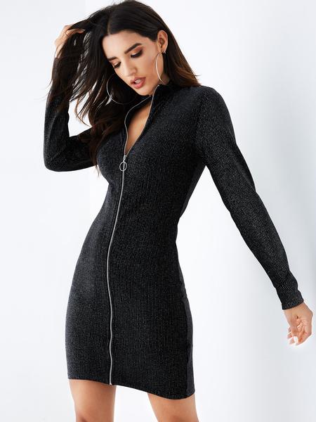 YOINS Black Zip Front Long Sleeves Bodycon Dress