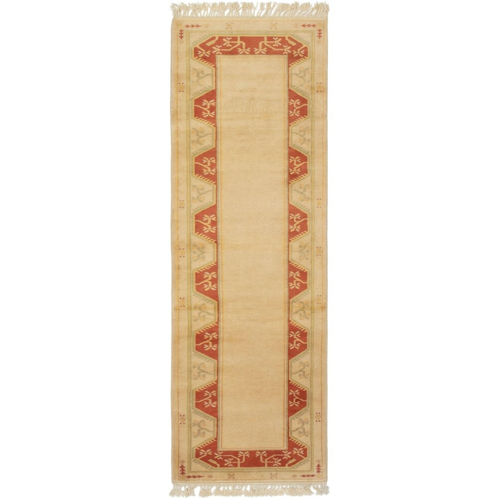 ECARPETGALLERY Hand-knotted Melis Vintage Cream Wool Rug - 2'7 x 9'2 (Cream - 2'7 x 9'2)