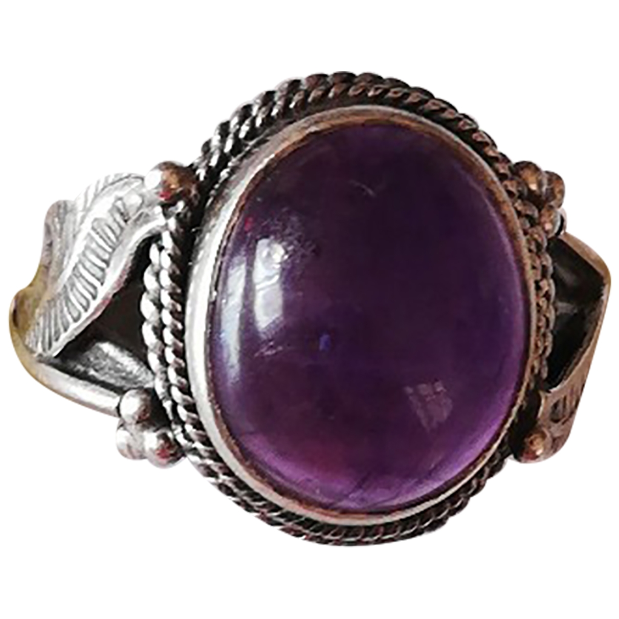 Non Signe / Unsigned Amethyste Ring in  Lila Silber