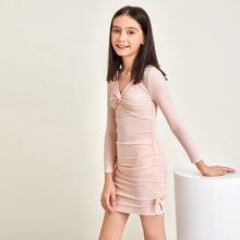 Kleid mit Twist vorn, Schleife und Ruesche
