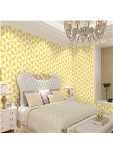 Yellow Triangles on White Background Durable Waterproof and Eco-friendly 3D Wall Mural