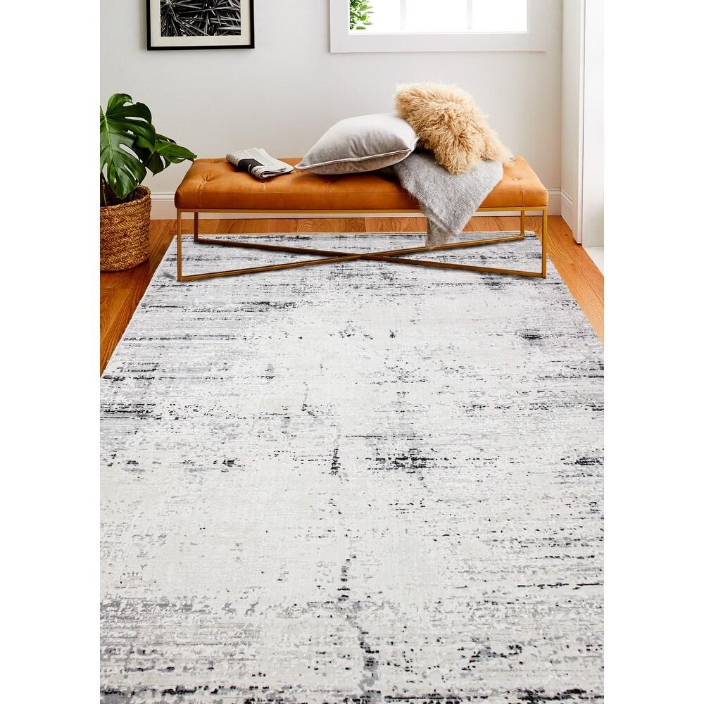 Bashian Honesty Beige/Grey Contemporary Area Rug (26 X 8)