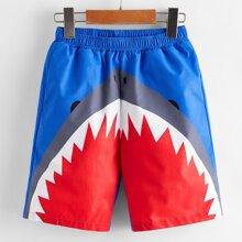 Shorts de niños con estampado de tiburon de cintura elastica