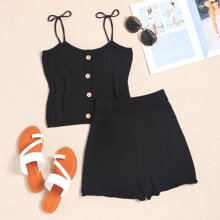 Tie Shoulder Button Front Knit Top With Shorts