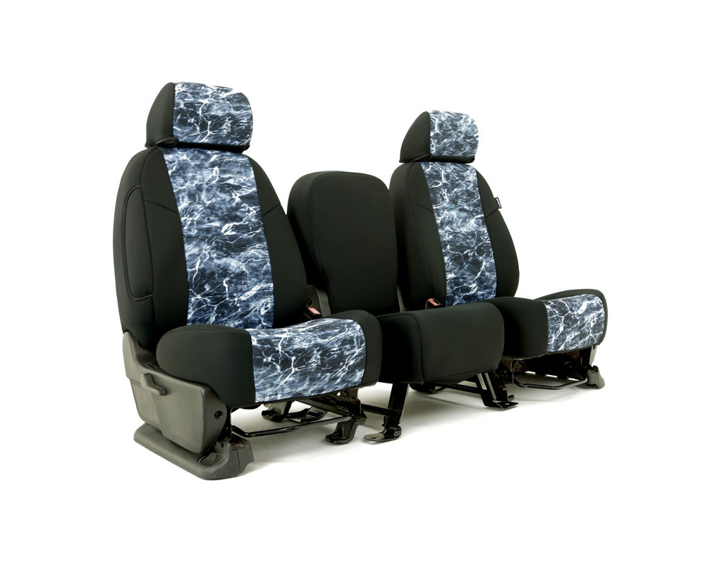 Coverking CSC2MO19NS9934 Skanda Custom Seat Covers 1 Row Neosupreme Mossy Oak Elements Bluefin with Black Sides Rear Nissan Titan   Tian XD 2016-2021