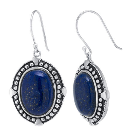 Genuine Blue Lapis Sterling Silver Drop Earrings, One Size , No Color Family