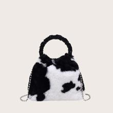 Mini Cow Print Satchel Bag