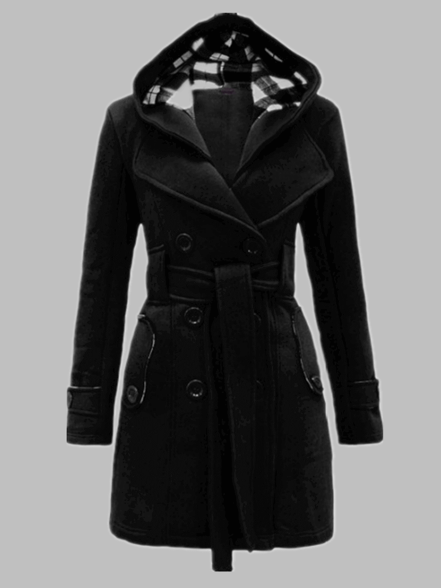 LW Lovely Casual Hooded Collar Knot Design Black Trench Coat