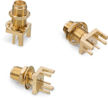 Wurth Elektronik , WR-RPSMA Straight Edge MountBulkhead Fitting Coaxial Connector, jack, Gold over Nickel, Solder (70)
