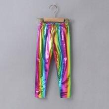 Toddler Girls PU Leather Rainbow Metallic Leggings