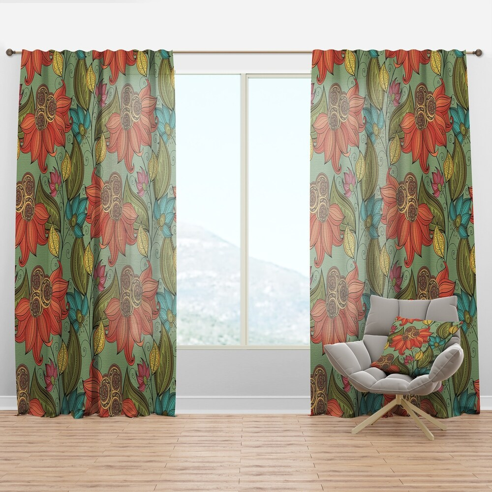Designart 'Colorful Floral Pattern' Bohemian & Eclectic Curtain Panel (50 in. wide x 63 in. high - 1 Panel)