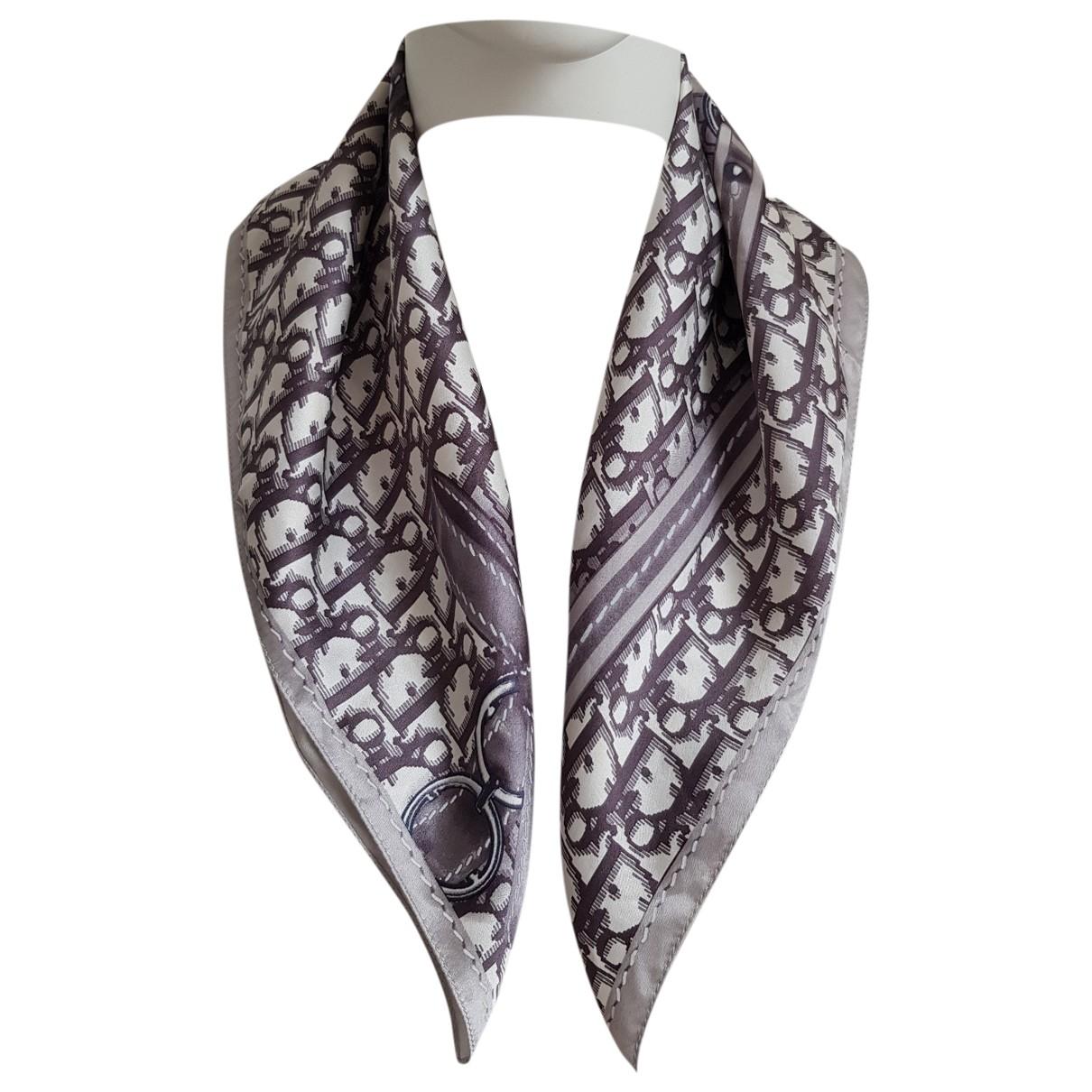 Dior - Foulard   pour femme en soie - gris