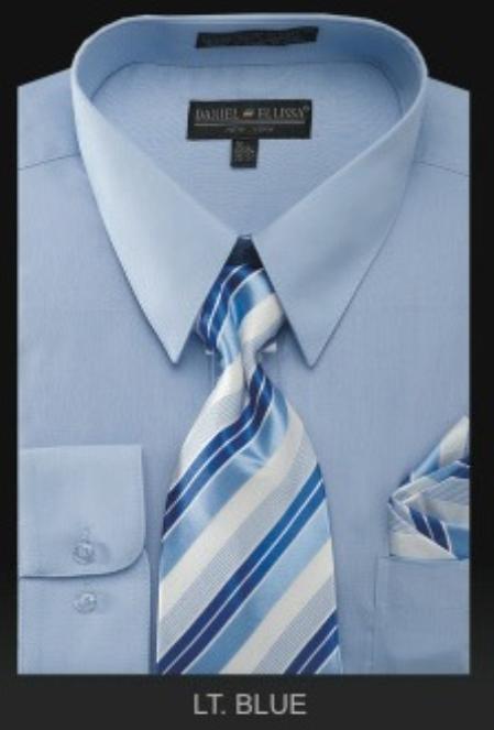 Mens Dress Shirt PREMIUM TIE Light Blue