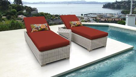 Coast Collection COAST-2x-ST-TERRACOTTA Patio Set with 2 Chaises   1 Side Table - Beige and Terracotta