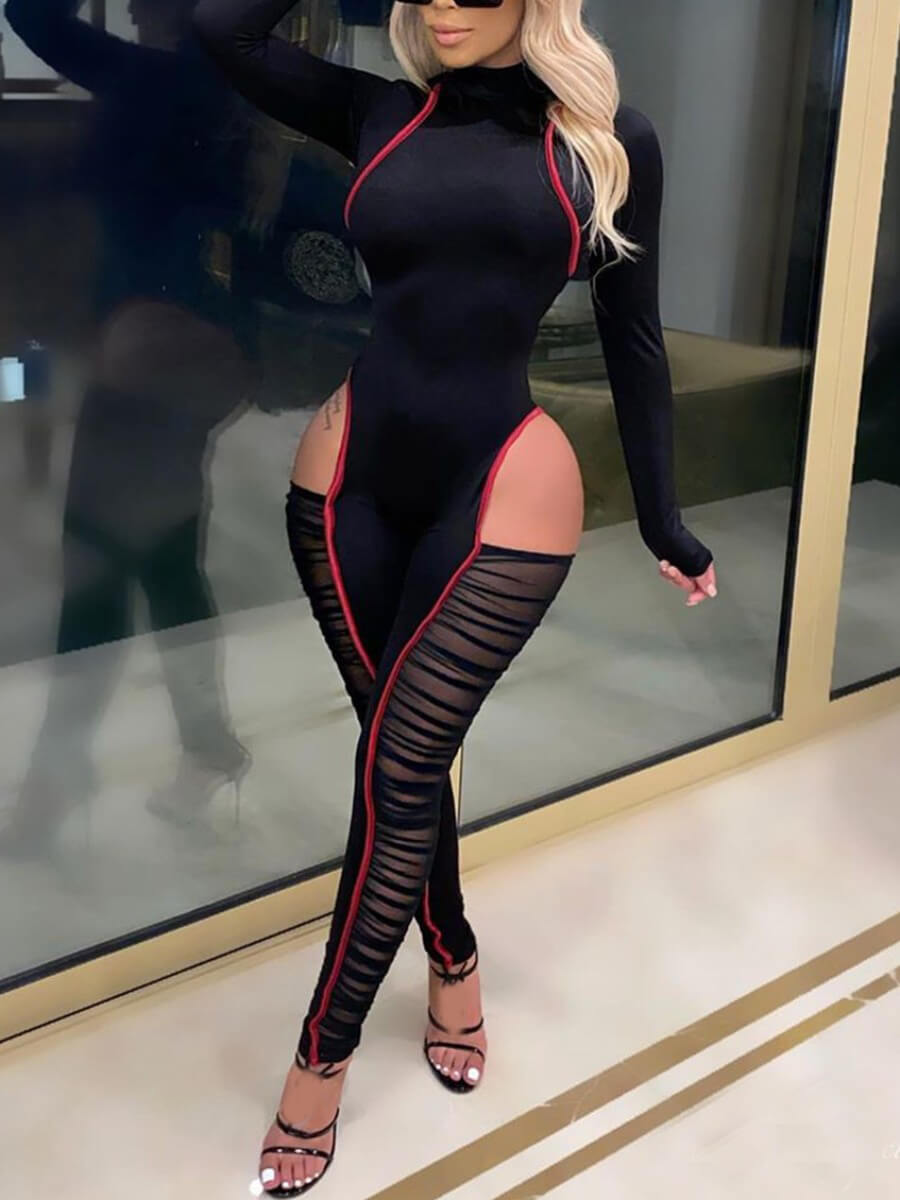 LW Lovely Sexy Hollow-out Mesh Patchwork Black One-piece Jumpsuit