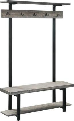 Pomona Collection AMBA28SG Entryway Hall Tree with Bench  Shelves & Coat