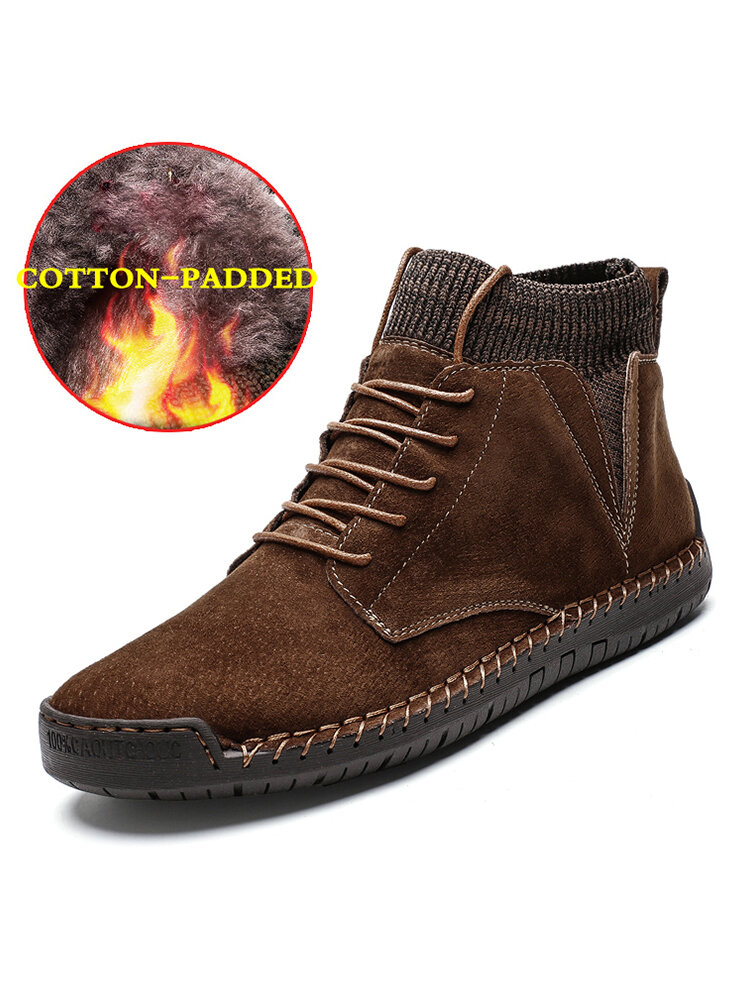 Men Handmade Stitching Warm Plush Lining Lace-up Sock Ankle Boots