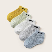 5pairs Toddler Kids Hollow Out Graphic Ankle Socks