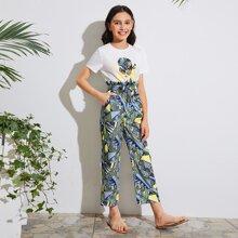 Girls Figure Graphic Tee & Paperbag Waist Belted Pants Set