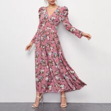 Vestido con estampado floral con boton delantero de manga gigot