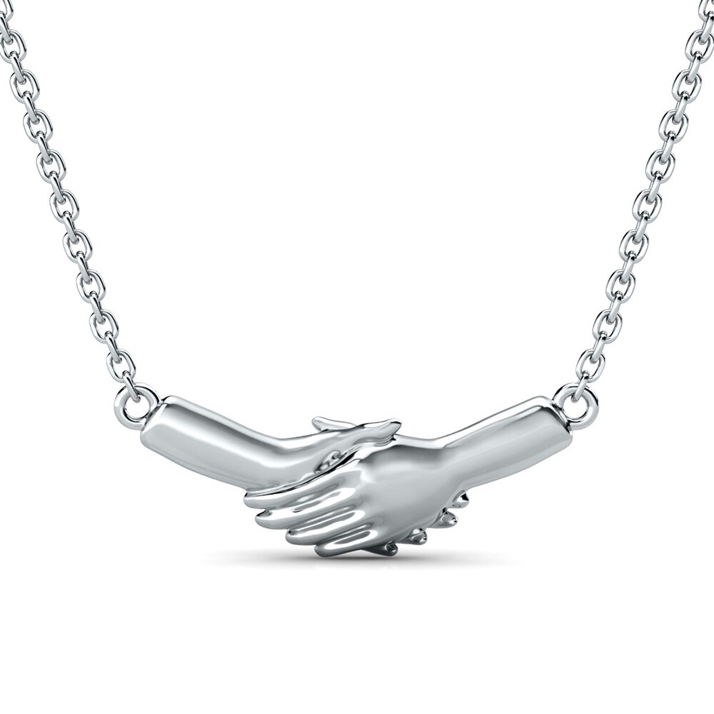 Ted Poley Miss Your Touch Interlocking Hand Necklace in  .925 Sterling Silver (18 Inch - White)