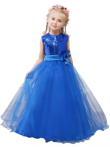 Milanoo Vestido del desfile de niño azul con lentejuelas princesa flor chica vestido Sash Maxi Junior Dama de honor Tul