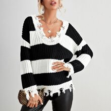 Two Tone Distressed Sweater