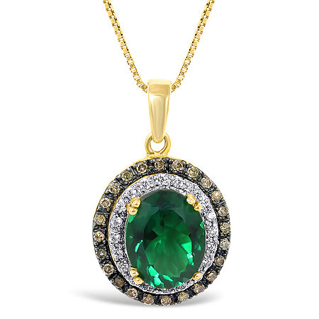 LIMITED QUANTITIES! Lab-Created Emerald and Diamond Oval Pendant Necklace, One Size , Yellow