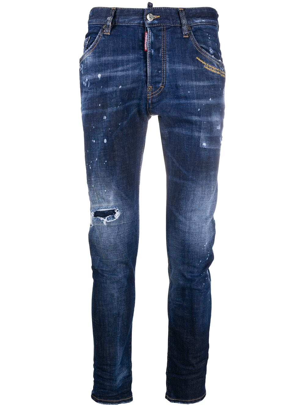 Cotton Ripped Slim-fit Jeans