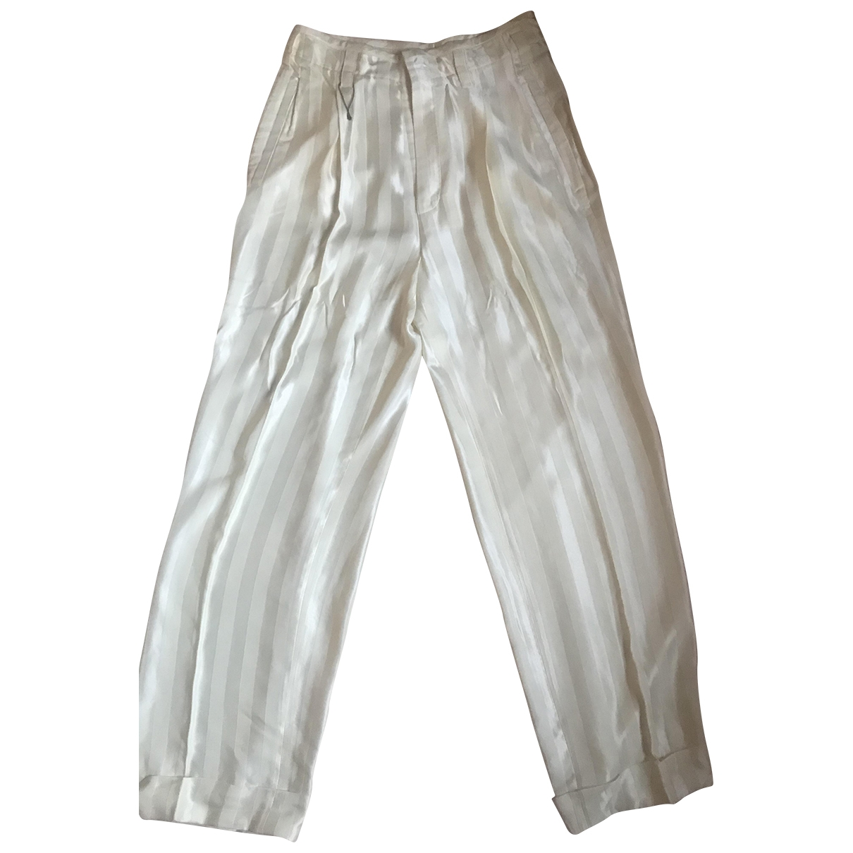 Balenciaga \N White Silk Trousers for Women 38 IT