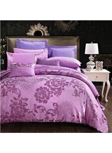 Elegant Lilac Satin Jacquard Silky Soft Cotton 4-Piece Bedding Sets/Duvet Cover