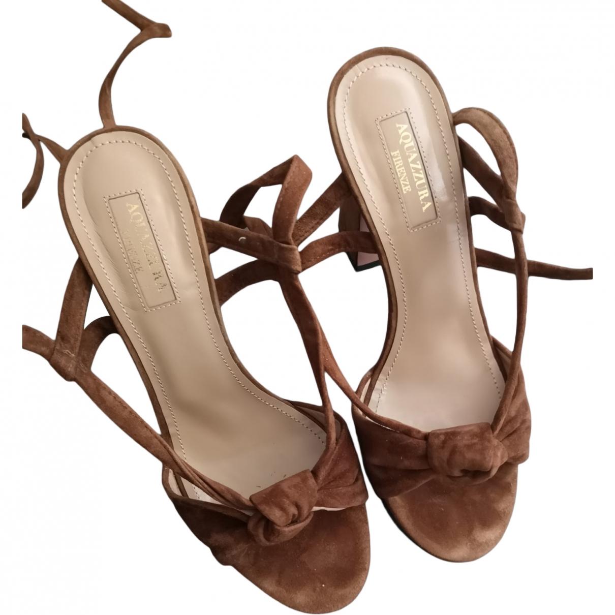 Aquazzura \N Brown Suede Sandals for Women 36 EU