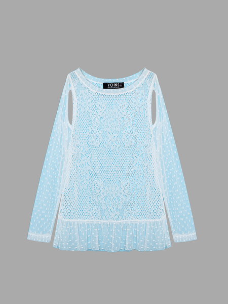 Yoins Cut Out Long Sleeves Lace Top in White