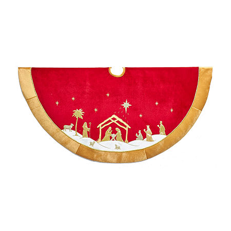 Kurt Adler Red And Gold Religious Tree Skirt, One Size , Multiple Colors