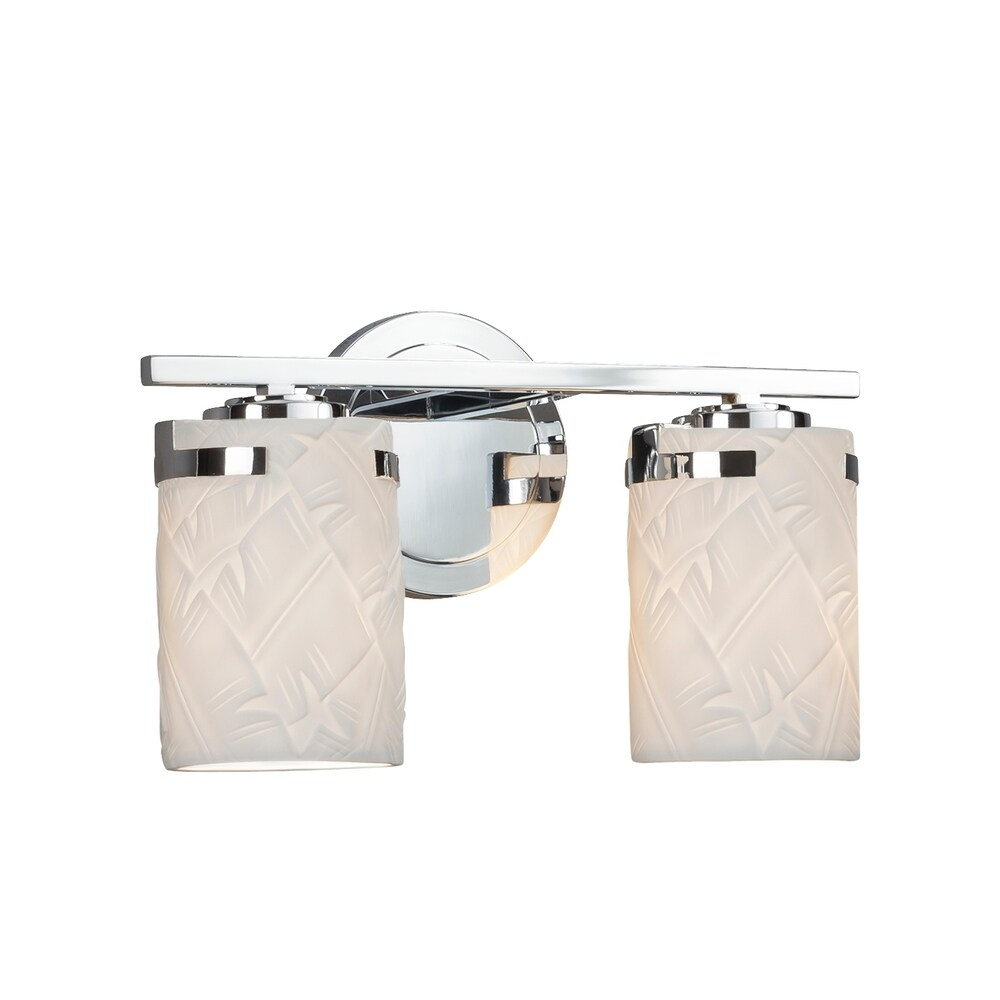 Justice Design Limoges Atlas 2-light Polished Chrome Bath Bar, Banana leaf Cylinder - Flat Rim Shade